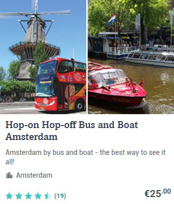 Hop-on and Hop-off Bus and Boat Amsterdam