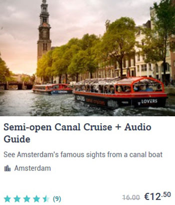 Semi open Canal Cruise Amsterdam + Audio Guide
