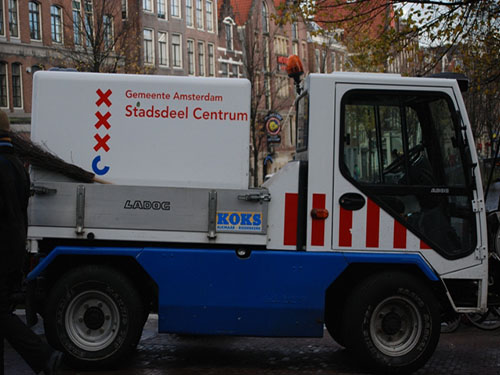 Amsterdam City Symbol on a municipalities cleaning truck