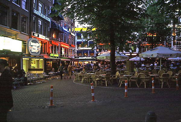 Bars and restaurants on the Leidseplein in Amsterdam